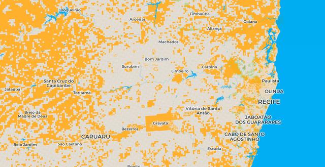 Detalhe da cidade de Recife e região no mapa 'Aqui não mora ninguém'
