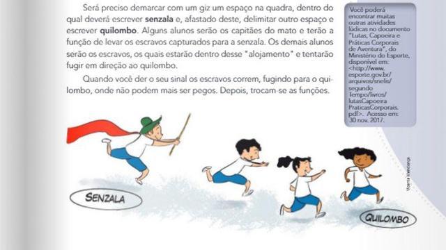 """Atividade de livro didático distribuido nas escolas públicas do Rio de Janeiro propõe dividir crianças entre """"escravos"""" e """"capitães do mato"""""""